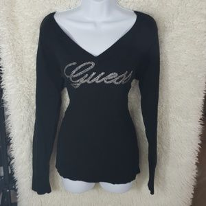GUESS  black sweater v neck front & back XL (aaa29